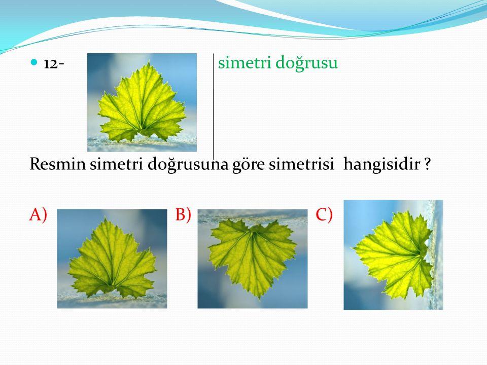12- simetri doğrusu Resmin simetri doğrusuna göre simetrisi hangisidir ? A) B) C)