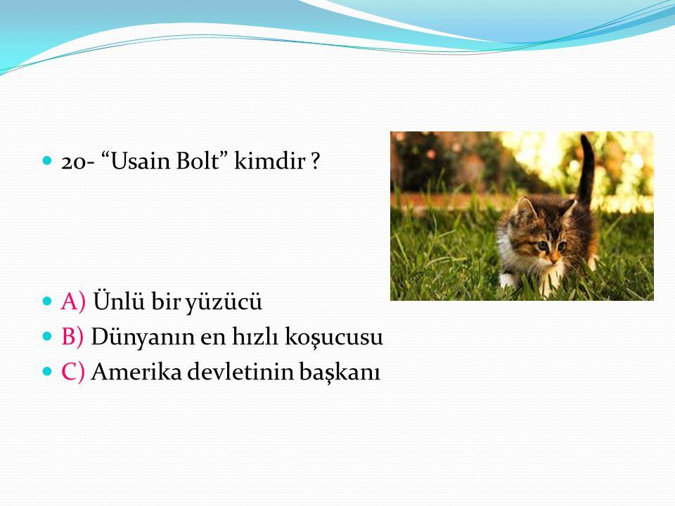 """20- """"Usain Bolt"""" kimdir ? A) Ünlü bir yüzücü B) Dünyanın en hızlı koşucusu C) Amerika devletinin başkanı"""