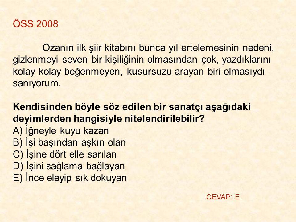 ÖSS 2008 Ozanın ilk şiir kitabını bunca yıl ertelemesinin nedeni, gizlenmeyi seven bir kişiliğinin olmasından çok, yazdıklarını kolay kolay beğenmeyen