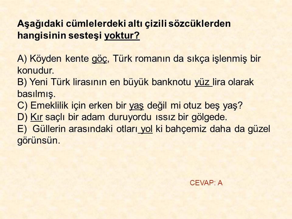 Aşağıdaki cümlelerdeki altı çizili sözcüklerden hangisinin sesteşi yoktur? A) Köyden kente göç, Türk romanın da sıkça işlenmiş bir konudur. B) Yeni Tü