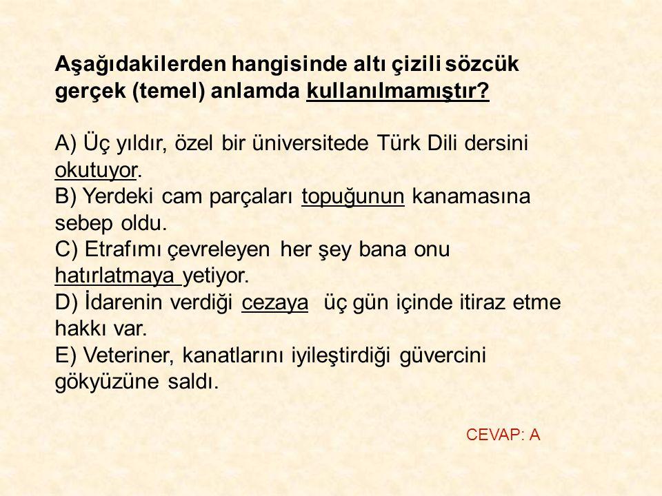 Aşağıdakilerden hangisinde altı çizili sözcük gerçek (temel) anlamda kullanılmamıştır? A) Üç yıldır, özel bir üniversitede Türk Dili dersini okutuyor.