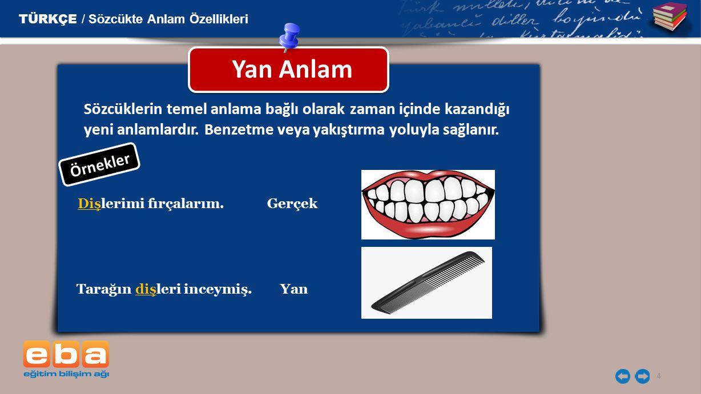 4 Yan Anlam TÜRKÇE / Sözcükte Anlam Özellikleri Dişlerimi fırçalarım. Tarağın dişleri inceymiş. Gerçek Yan Sözcüklerin temel anlama bağlı olarak zaman