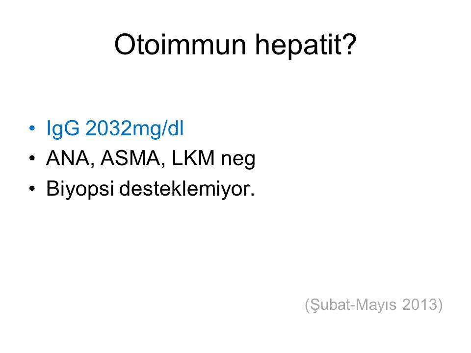Otoimmun hepatit? IgG 2032mg/dl ANA, ASMA, LKM neg Biyopsi desteklemiyor. (Şubat-Mayıs 2013)