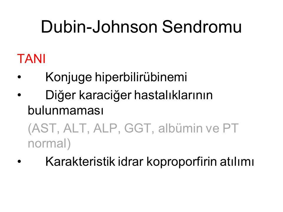 Dubin-Johnson Sendromu TANI Konjuge hiperbilirübinemi Diğer karaciğer hastalıklarının bulunmaması (AST, ALT, ALP, GGT, albümin ve PT normal) Karakteri