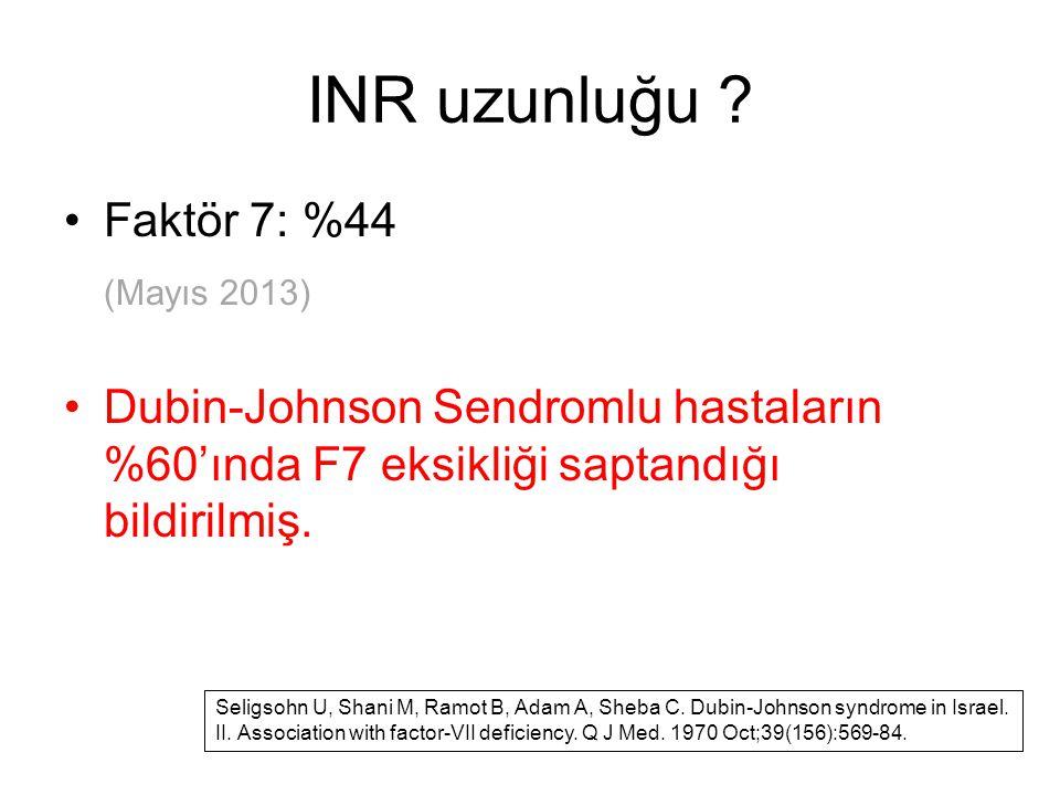 INR uzunluğu ? Faktör 7: %44 (Mayıs 2013) Dubin-Johnson Sendromlu hastaların %60'ında F7 eksikliği saptandığı bildirilmiş. Seligsohn U, Shani M, Ramot
