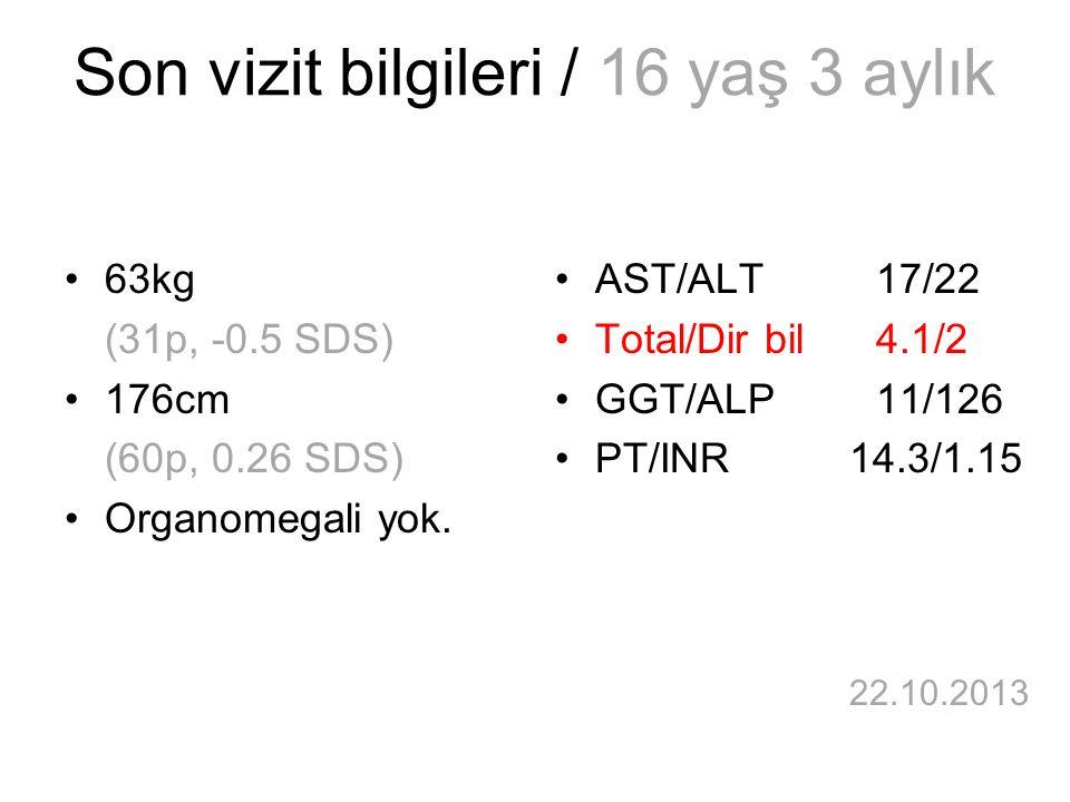 Son vizit bilgileri / 16 yaş 3 aylık 63kg (31p, -0.5 SDS) 176cm (60p, 0.26 SDS) Organomegali yok. AST/ALT17/22 Total/Dir bil4.1/2 GGT/ALP11/126 PT/INR
