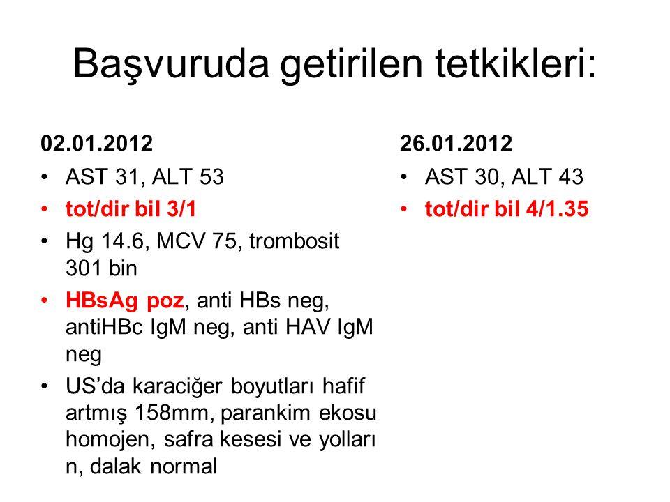Başvuruda getirilen tetkikleri: 02.01.2012 AST 31, ALT 53 tot/dir bil 3/1 Hg 14.6, MCV 75, trombosit 301 bin HBsAg poz, anti HBs neg, antiHBc IgM neg,