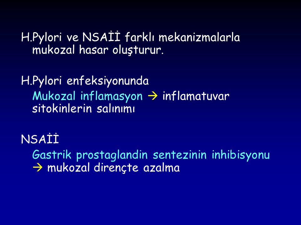 H.Pylori ve NSAİİ farklı mekanizmalarla mukozal hasar oluşturur. H.Pylori enfeksiyonunda Mukozal inflamasyon  inflamatuvar sitokinlerin salınımı NSAİ