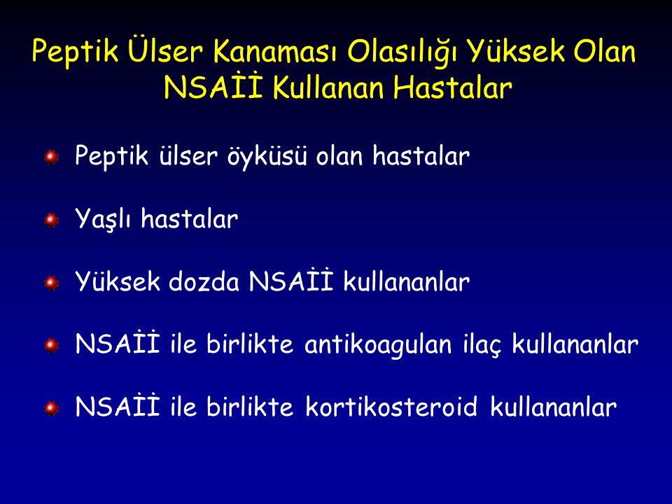Peptik Ülser Kanaması Olasılığı Yüksek Olan NSAİİ Kullanan Hastalar Peptik ülser öyküsü olan hastalar Yaşlı hastalar Yüksek dozda NSAİİ kullananlar NS