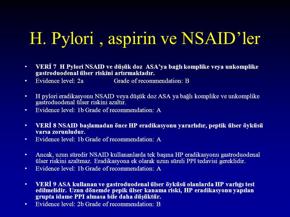 H. Pylori, aspirin ve NSAID'ler VERİ 7 H Pylori NSAID ve düşük doz ASA'ya bağlı komplike veya unkomplike gastroduodenal ülser riskini artırmaktadır. E