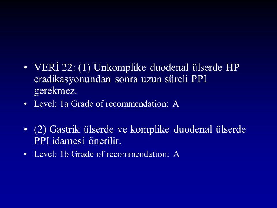 VERİ 22: (1) Unkomplike duodenal ülserde HP eradikasyonundan sonra uzun süreli PPI gerekmez. Level: 1a Grade of recommendation: A (2) Gastrik ülserde