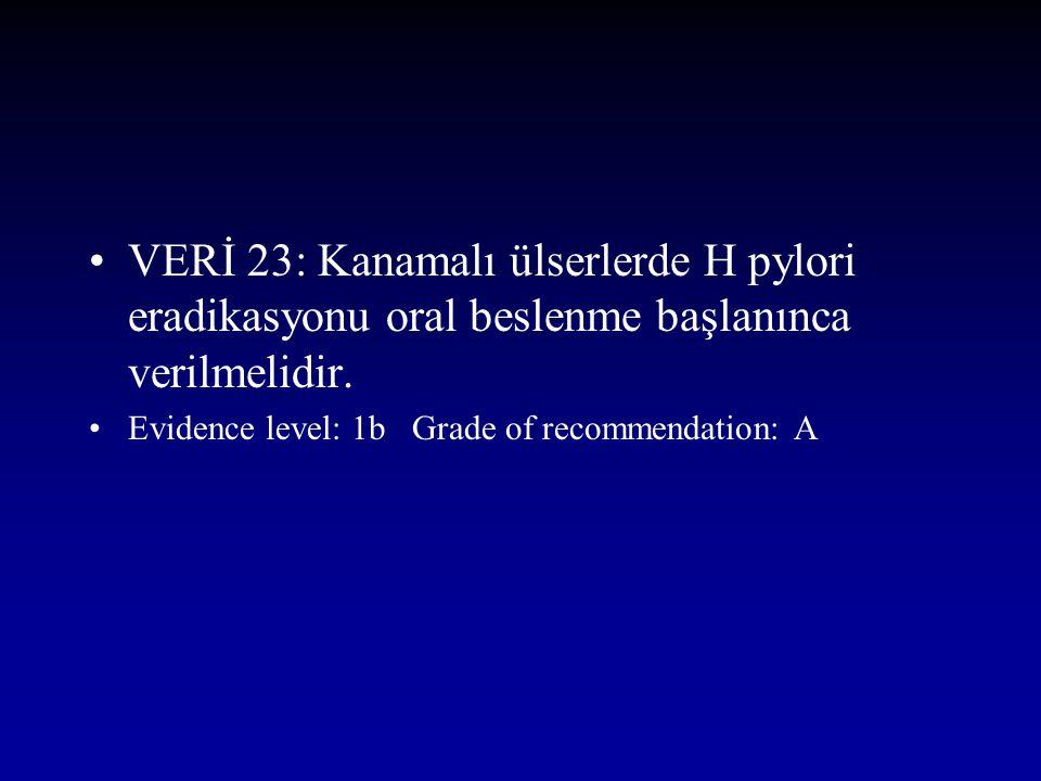 VERİ 23: Kanamalı ülserlerde H pylori eradikasyonu oral beslenme başlanınca verilmelidir. Evidence level: 1b Grade of recommendation: A