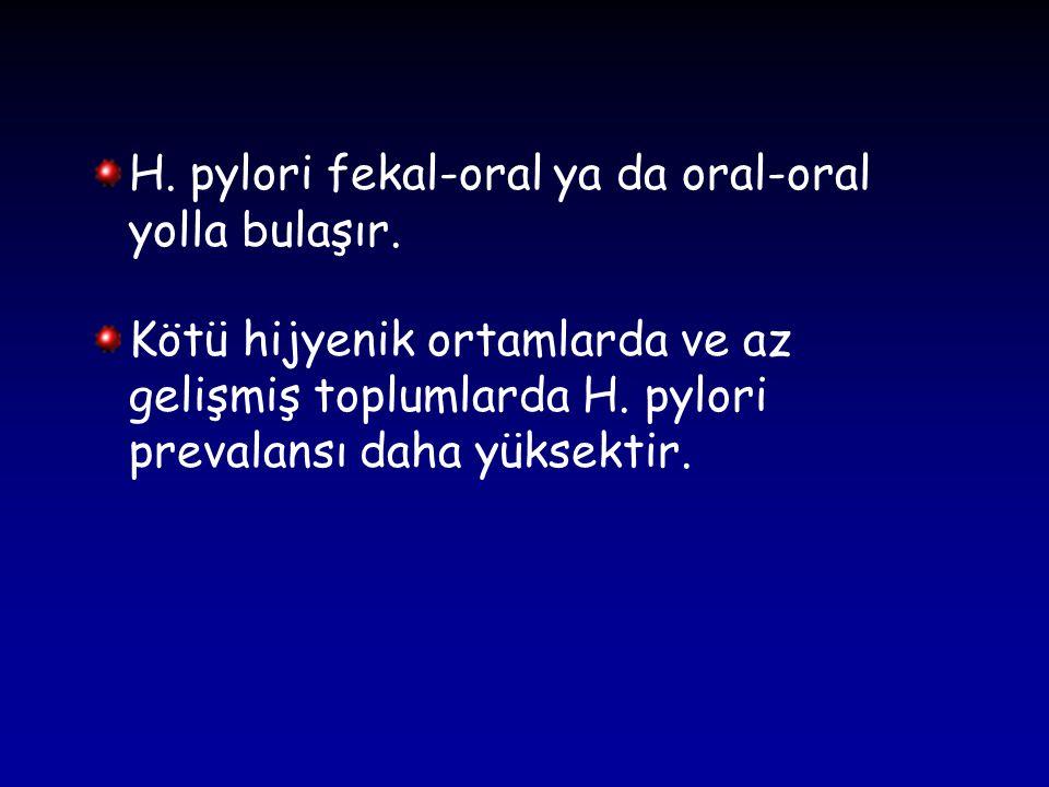 H. pylori fekal-oral ya da oral-oral yolla bulaşır. Kötü hijyenik ortamlarda ve az gelişmiş toplumlarda H. pylori prevalansı daha yüksektir.