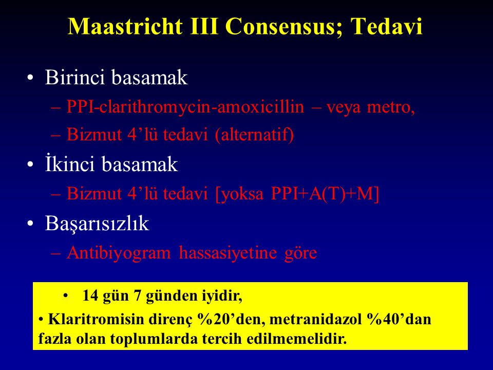 Maastricht III Consensus; Tedavi Birinci basamak –PPI-clarithromycin-amoxicillin – veya metro, –Bizmut 4'lü tedavi (alternatif) İkinci basamak –Bizmut