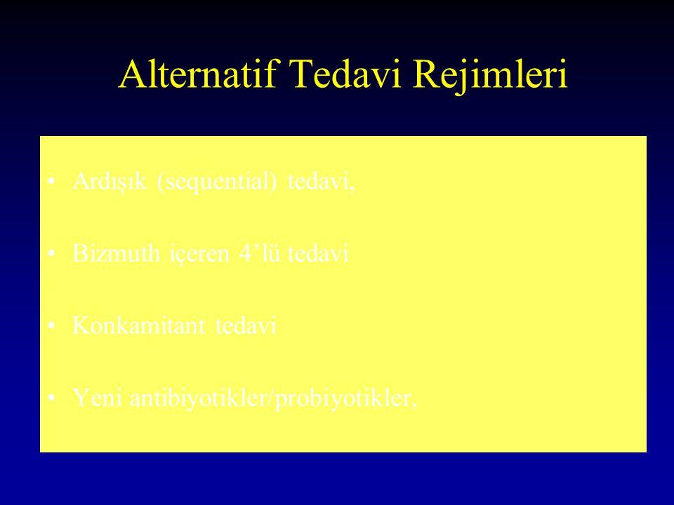 Alternatif Tedavi Rejimleri Ardışık (sequential) tedavi, Bizmuth içeren 4'lü tedavi Konkamitant tedavi Yeni antibiyotikler/probiyotikler,