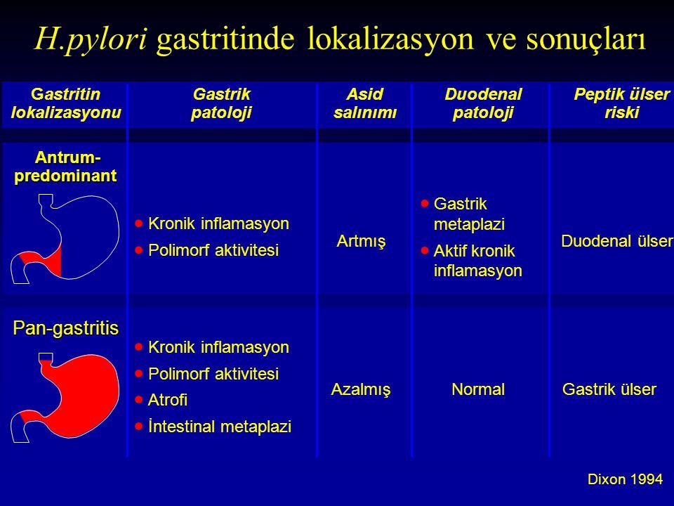 Dixon 1994 H.pylori gastritinde lokalizasyon ve sonuçları Gastritin Gastrik Asid DuodenalPeptik ülser lokalizasyonu patolojisalınımıpatolojiriski  Ga