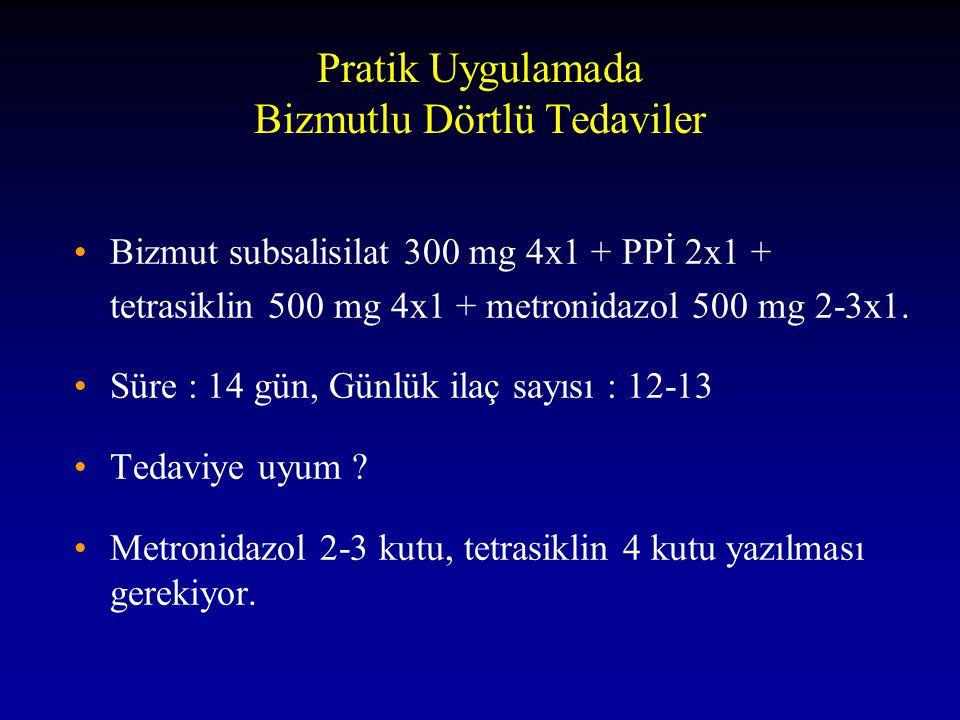 Pratik Uygulamada Bizmutlu Dörtlü Tedaviler Bizmut subsalisilat 300 mg 4x1 + PPİ 2x1 + tetrasiklin 500 mg 4x1 + metronidazol 500 mg 2-3x1. Süre : 14 g