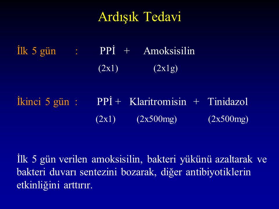 Ardışık Tedavi İlk 5 gün : PPİ + Amoksisilin (2x1) (2x1g) İkinci 5 gün : PPİ + Klaritromisin + Tinidazol (2x1) (2x500mg) (2x500mg) İlk 5 gün verilen a