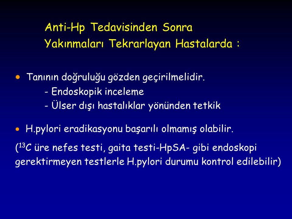 Anti-Hp Tedavisinden Sonra Yakınmaları Tekrarlayan Hastalarda :  Tanının doğruluğu gözden geçirilmelidir. - Endoskopik inceleme - Ülser dışı hastalık