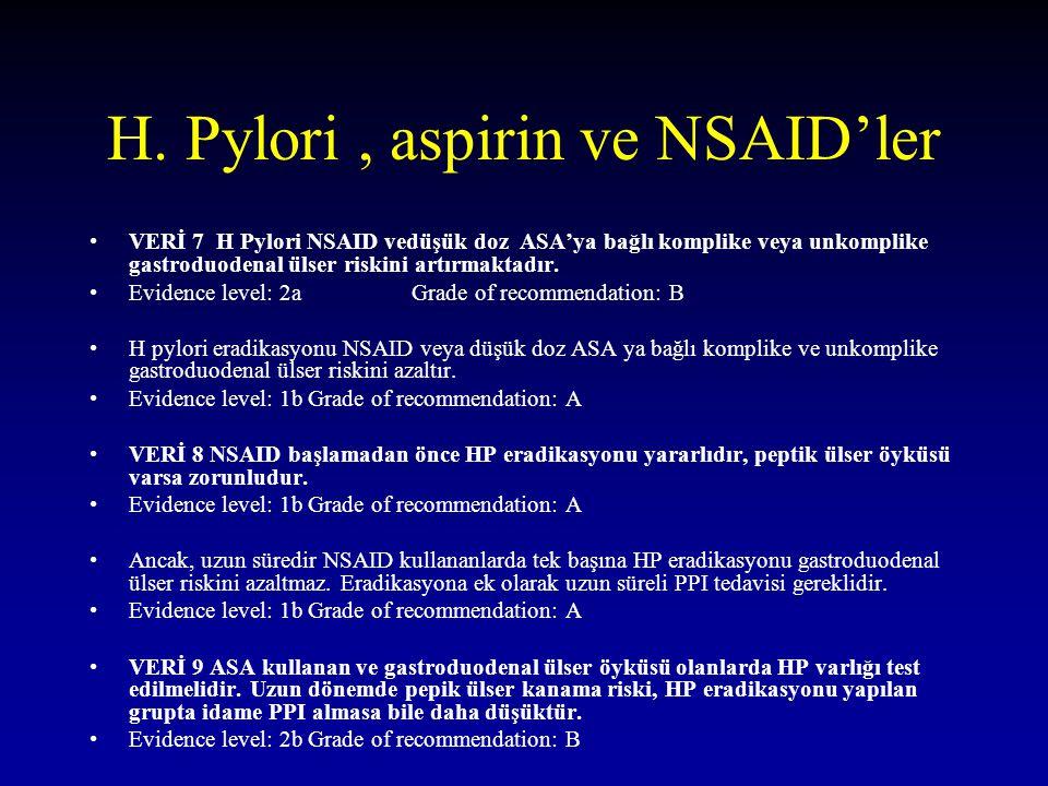 H. Pylori, aspirin ve NSAID'ler VERİ 7 H Pylori NSAID vedüşük doz ASA'ya bağlı komplike veya unkomplike gastroduodenal ülser riskini artırmaktadır. Ev