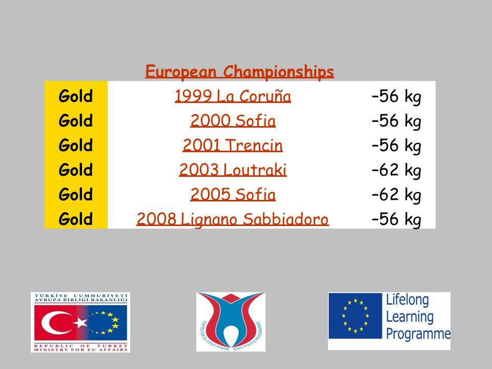 European Championships Gold1999 La Coruña–56 kg Gold2000 Sofia–56 kg Gold2001 Trencin–56 kg Gold2003 Loutraki–62 kg Gold2005 Sofia–62 kg Gold2008 Lign