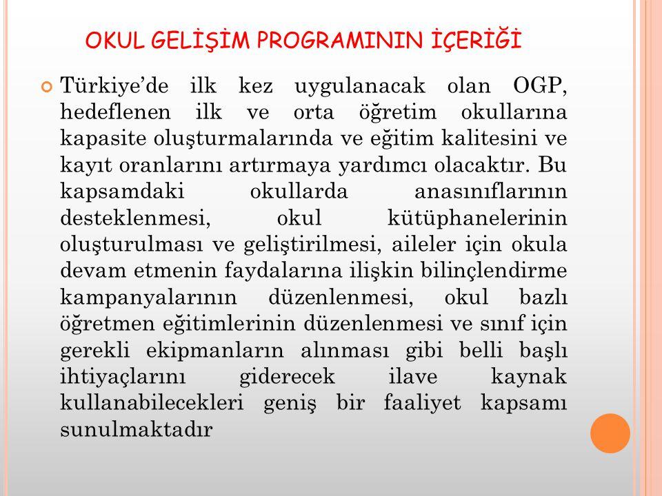OKUL GELİŞİM PROGRAMININ İÇERİĞİ Türkiye'de ilk kez uygulanacak olan OGP, hedeflenen ilk ve orta öğretim okullarına kapasite oluşturmalarında ve eğitim kalitesini ve kayıt oranlarını artırmaya yardımcı olacaktır.