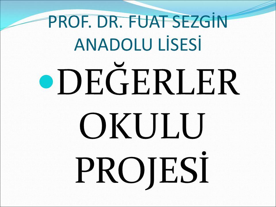PROF. DR. FUAT SEZGİN ANADOLU LİSESİ DEĞERLER OKULU PROJESİ