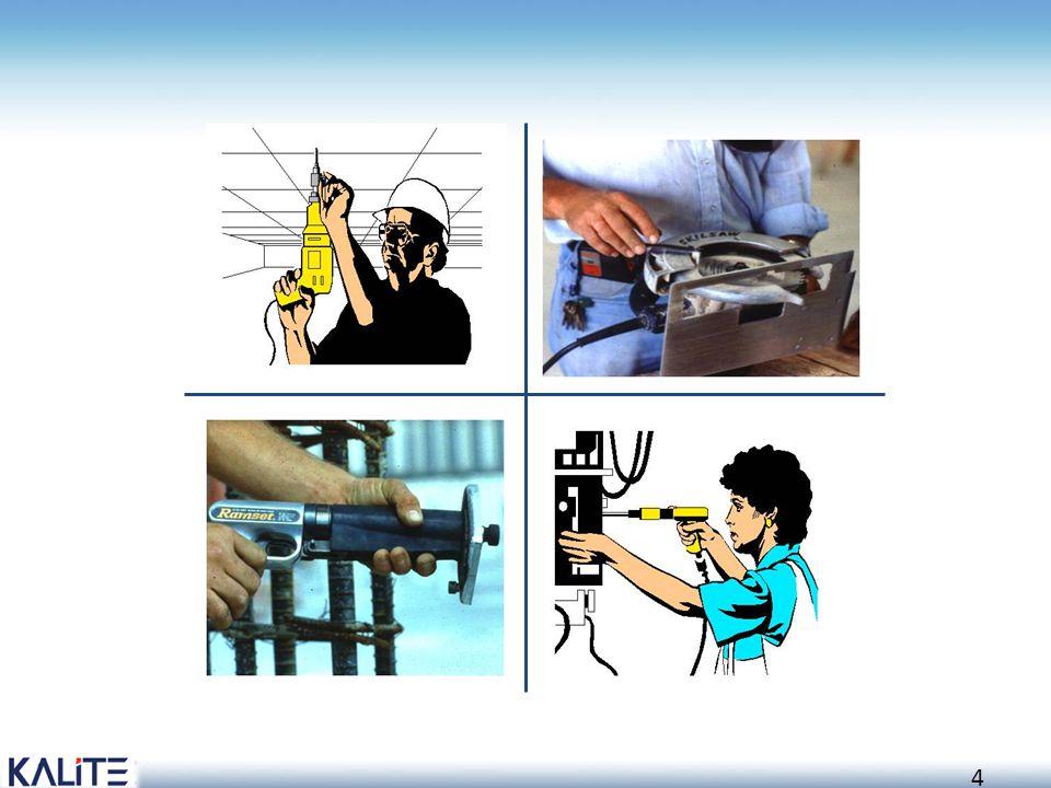15 Anahtarlar Elektrikli el aletleri aşağıdaki tip anahtarlardan birine sahip olmalıdır: Sabit basınç anahtarı Bırakıldığında enerjiyi keser Örnek: daire testere, zincirli testere, taş motoru, elektrikli el matkabı Açma kapama anahtarı Örnekler: planyalar, zımpara tezgahları, torna, frezeler, şerit testereler