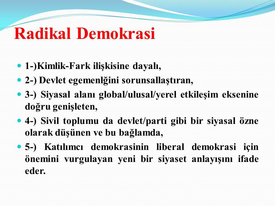 Radikal Demokrasi 1-)Kimlik-Fark ilişkisine dayalı, 2-) Devlet egemenlğini sorunsallaştıran, 3-) Siyasal alanı global/ulusal/yerel etkileşim eksenine doğru genişleten, 4-) Sivil toplumu da devlet/parti gibi bir siyasal özne olarak düşünen ve bu bağlamda, 5-) Katılımcı demokrasinin liberal demokrasi için önemini vurgulayan yeni bir siyaset anlayışını ifade eder.
