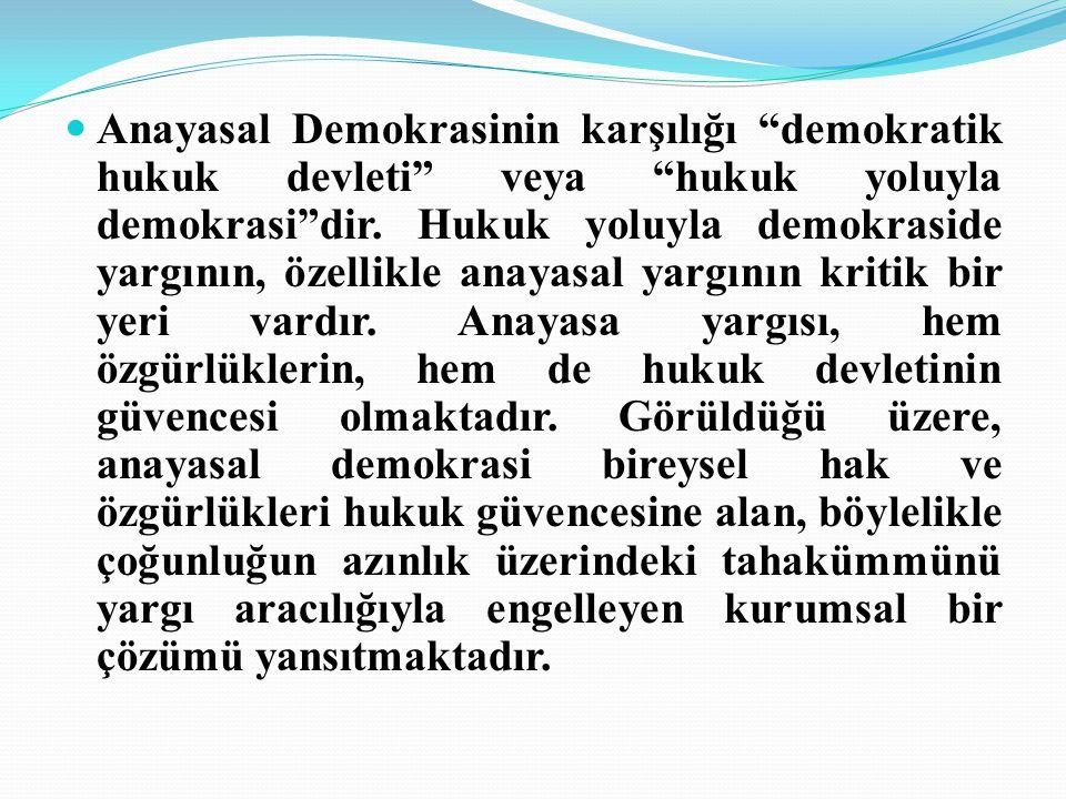 Anayasal Demokrasinin karşılığı demokratik hukuk devleti veya hukuk yoluyla demokrasi dir.