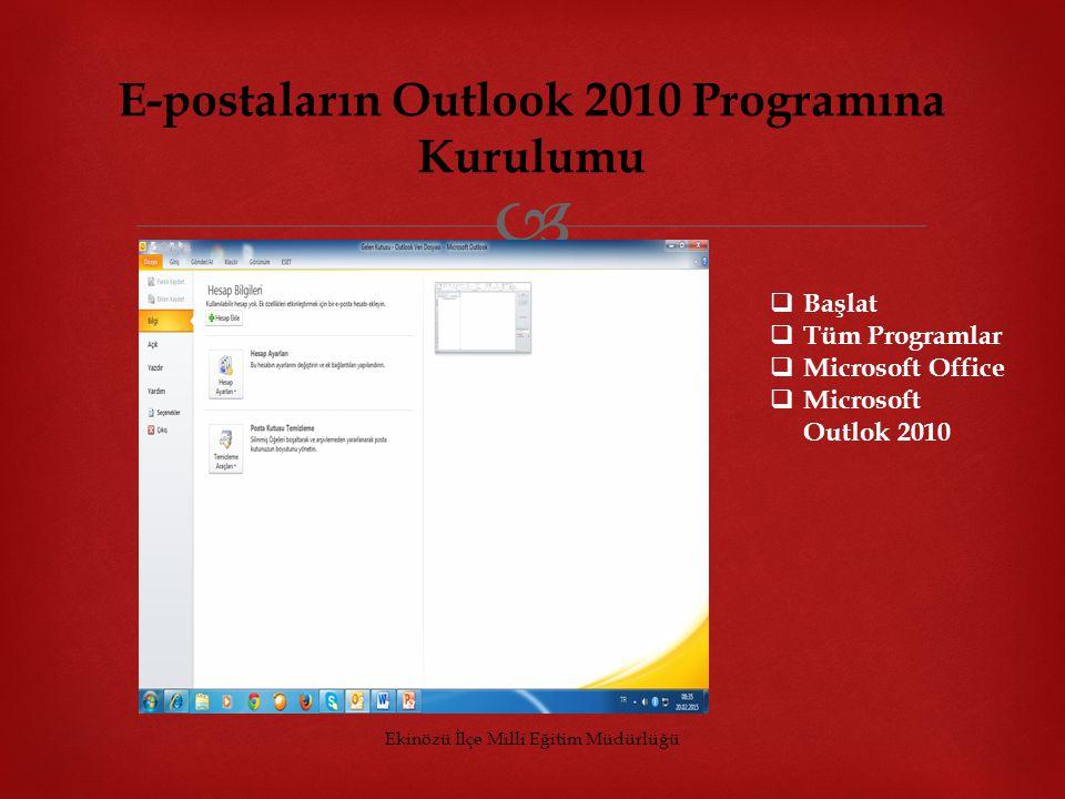  E-postaların Outlook 2010 Programına Kurulumu  Başlat  Tüm Programlar  Microsoft Office  Microsoft Outlok 2010