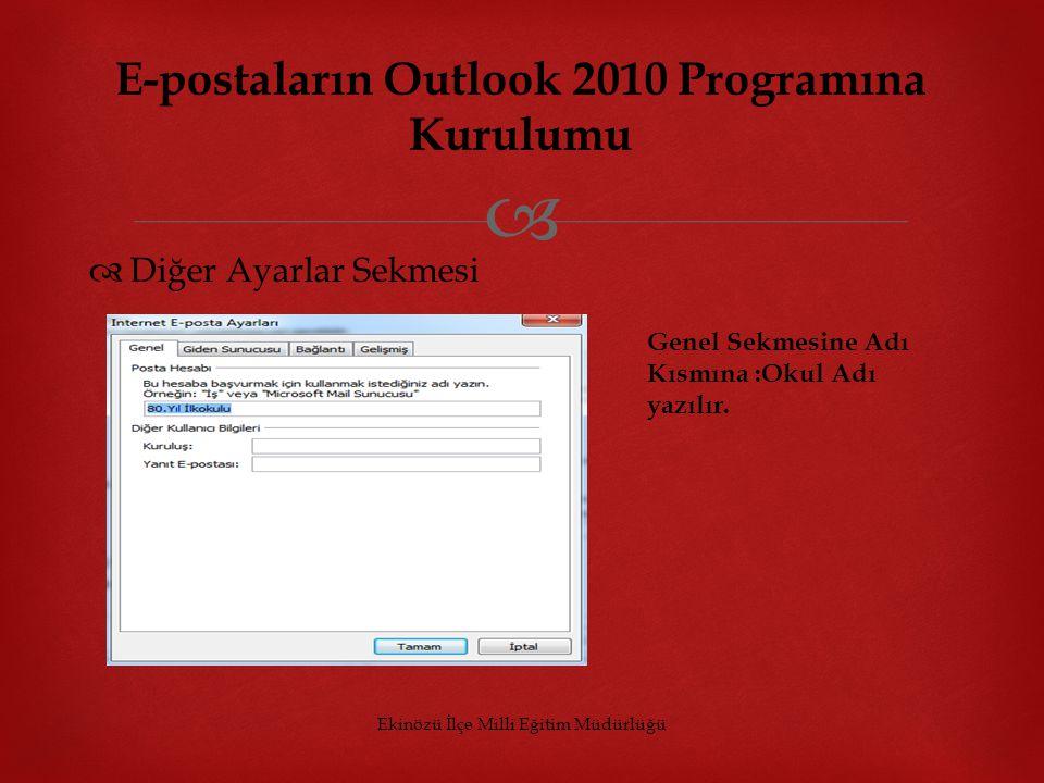   Diğer Ayarlar Sekmesi Ekinözü İlçe Milli Eğitim Müdürlüğü E-postaların Outlook 2010 Programına Kurulumu Genel Sekmesine Adı Kısmına :Okul Adı yazı