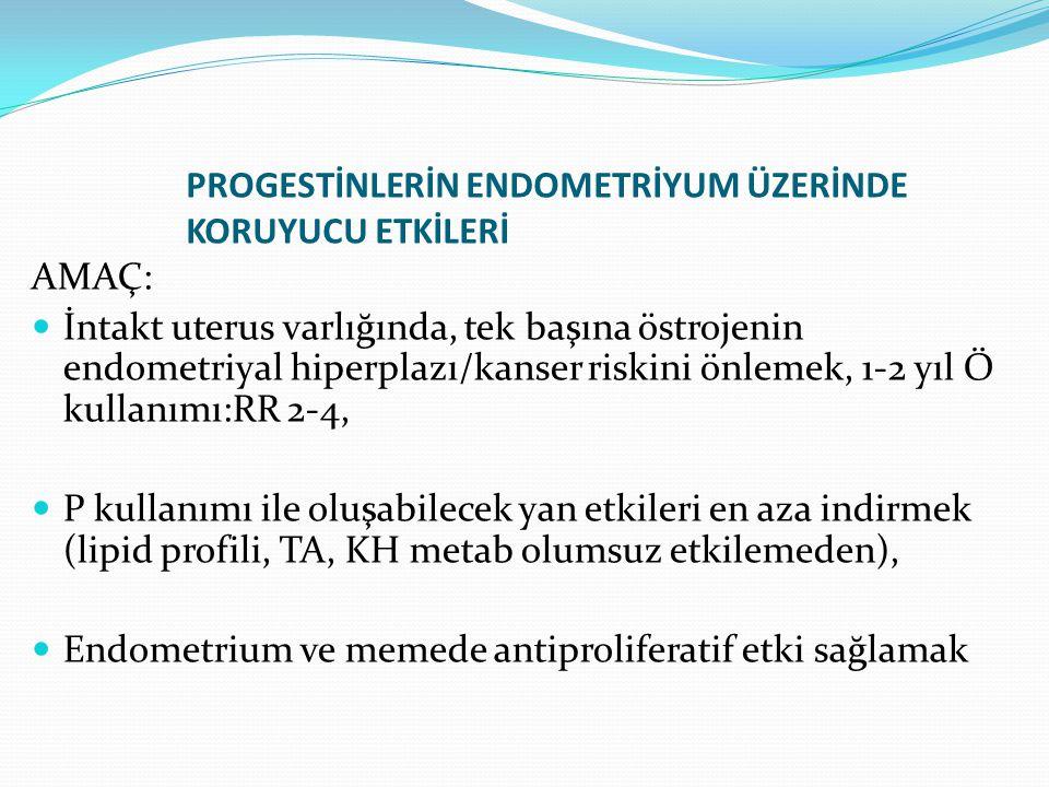 PROGESTİNLERİN ENDOMETRİYUM ÜZERİNDE KORUYUCU ETKİLERİ AMAÇ: İntakt uterus varlığında, tek başına östrojenin endometriyal hiperplazı/kanser riskini önlemek, 1-2 yıl Ö kullanımı:RR 2-4, P kullanımı ile oluşabilecek yan etkileri en aza indirmek (lipid profili, TA, KH metab olumsuz etkilemeden), Endometrium ve memede antiproliferatif etki sağlamak