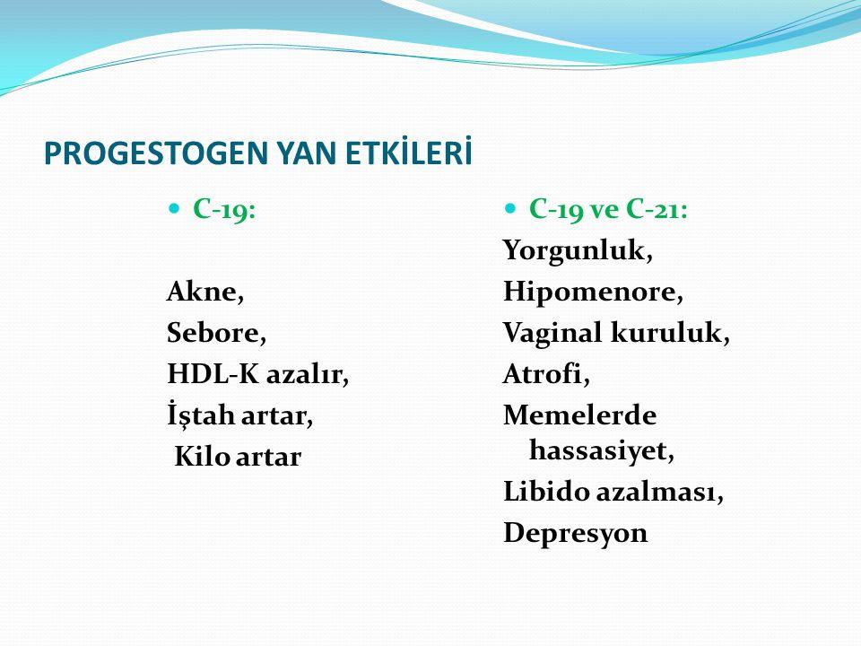 PROGESTOGEN YAN ETKİLERİ C-19: Akne, Sebore, HDL-K azalır, İştah artar, Kilo artar C-19 ve C-21: Yorgunluk, Hipomenore, Vaginal kuruluk, Atrofi, Memelerde hassasiyet, Libido azalması, Depresyon