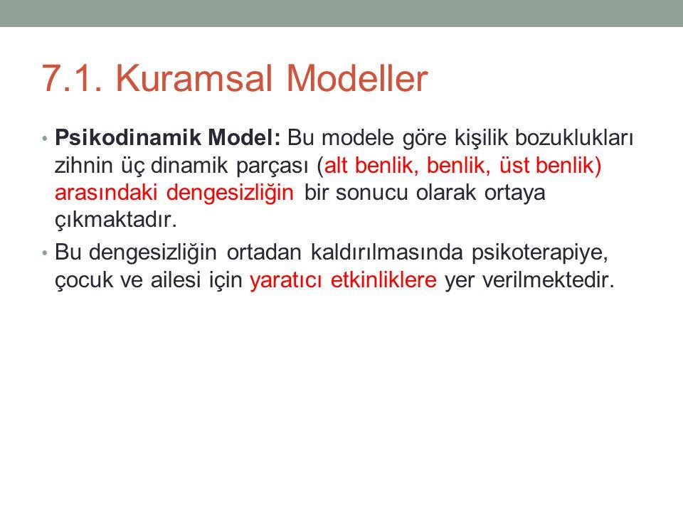 7.1. Kuramsal Modeller Psikodinamik Model: Bu modele göre kişilik bozuklukları zihnin üç dinamik parçası (alt benlik, benlik, üst benlik) arasındaki d