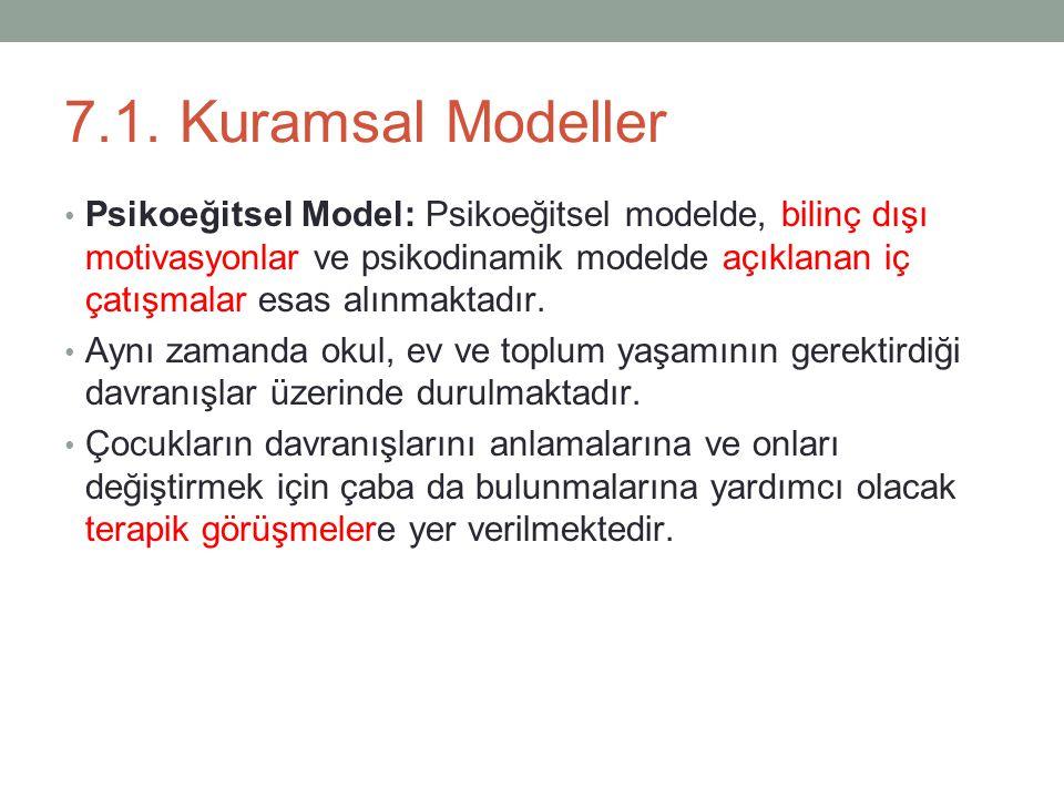 7.1. Kuramsal Modeller Psikoeğitsel Model: Psikoeğitsel modelde, bilinç dışı motivasyonlar ve psikodinamik modelde açıklanan iç çatışmalar esas alınma