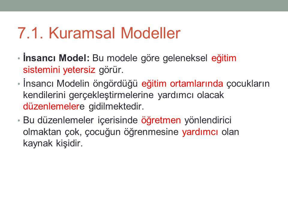7.1.Kuramsal Modeller İnsancı Model: Bu modele göre geleneksel eğitim sistemini yetersiz görür.