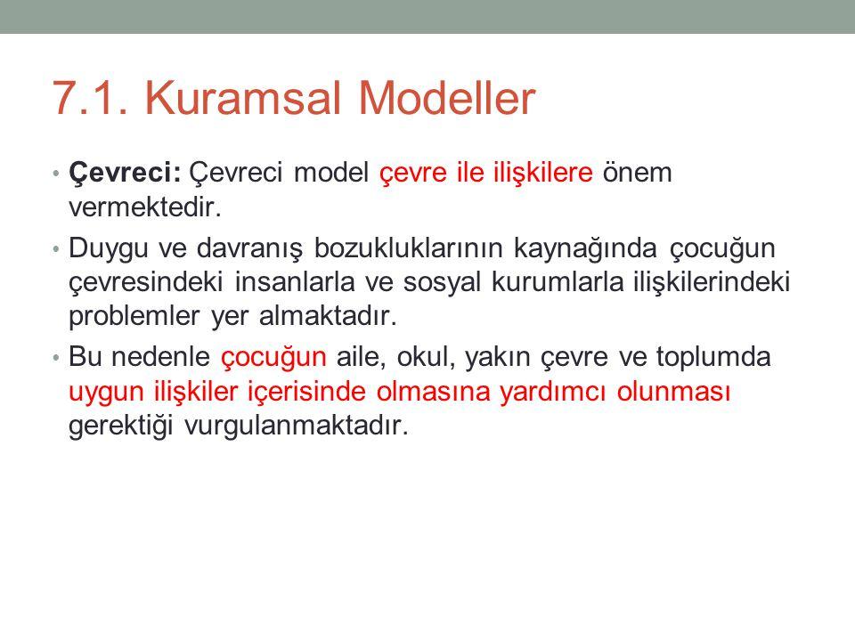 7.1.Kuramsal Modeller Çevreci: Çevreci model çevre ile ilişkilere önem vermektedir.