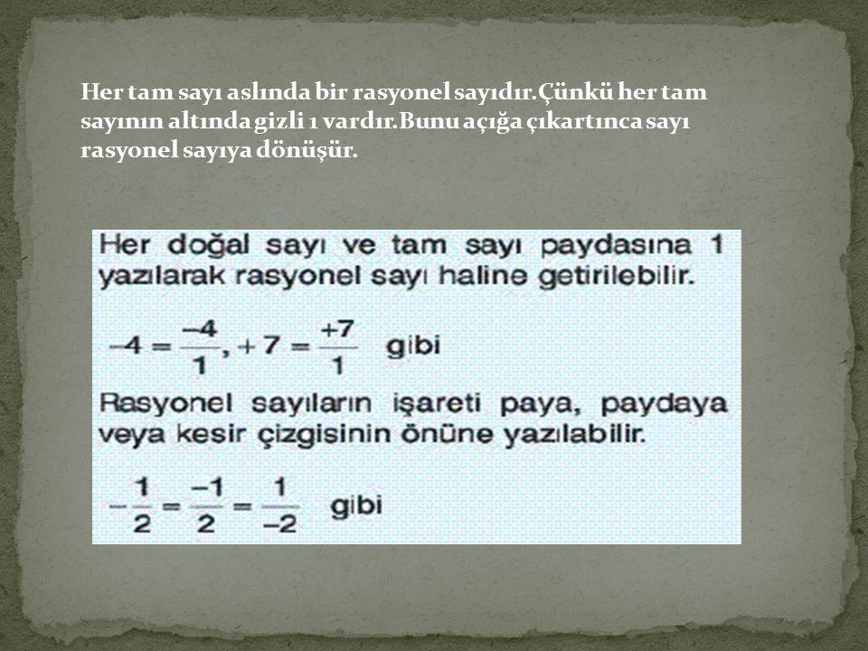 Her tam sayı aslında bir rasyonel sayıdır.Çünkü her tam sayının altında gizli 1 vardır.Bunu açığa çıkartınca sayı rasyonel sayıya dönüşür.