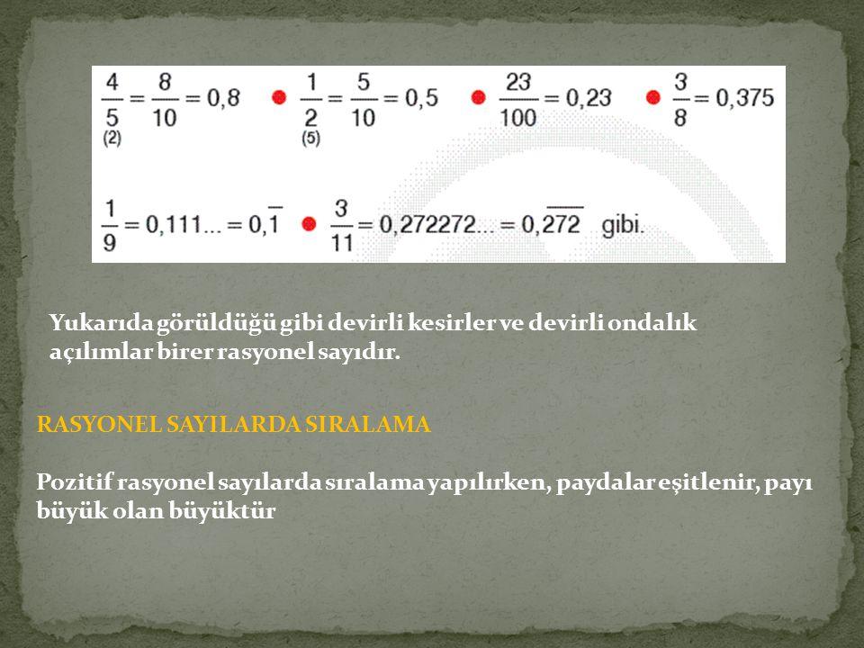 Yukarıda görüldüğü gibi devirli kesirler ve devirli ondalık açılımlar birer rasyonel sayıdır. RASYONEL SAYILARDA SIRALAMA Pozitif rasyonel sayılarda s