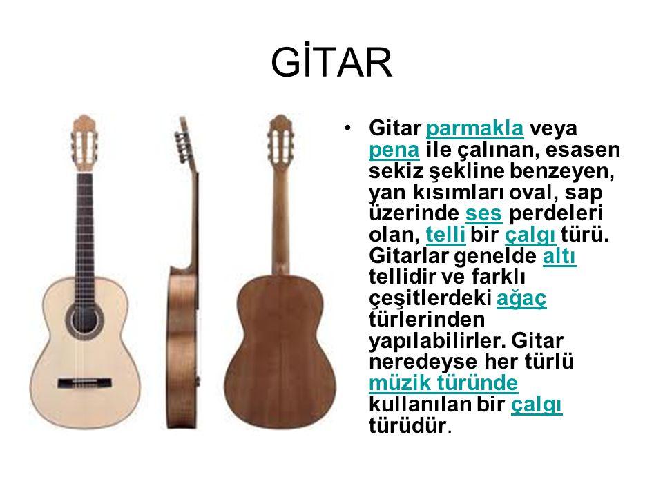 Gitar parmakla veya pena ile çalınan, esasen sekiz şekline benzeyen, yan kısımları oval, sap üzerinde ses perdeleri olan, telli bir çalgı türü. Gitarl