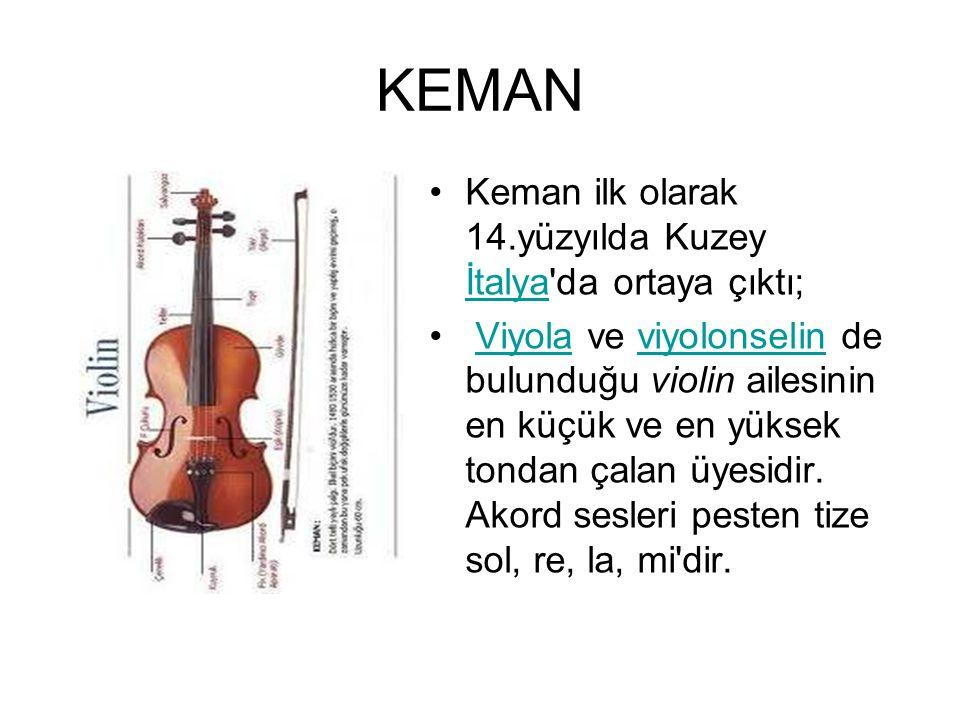 KEMAN Keman ilk olarak 14.yüzyılda Kuzey İtalya'da ortaya çıktı; İtalya Viyola ve viyolonselin de bulunduğu violin ailesinin en küçük ve en yüksek ton