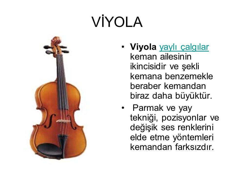 VİYOLA Viyola yaylı çalgılar keman ailesinin ikincisidir ve şekli kemana benzemekle beraber kemandan biraz daha büyüktür.yaylı çalgılar Parmak ve yay