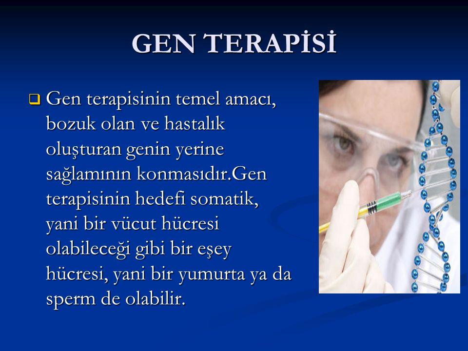 GEN TERAPİSİ  Gen terapisinin temel amacı, bozuk olan ve hastalık oluşturan genin yerine sağlamının konmasıdır.Gen terapisinin hedefi somatik, yani b