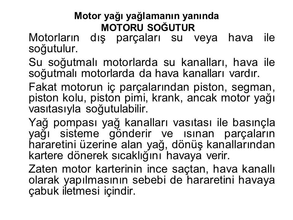 Motor yağı yağlamanın yanında MOTORU SOĞUTUR Motorların dış parçaları su veya hava ile soğutulur.