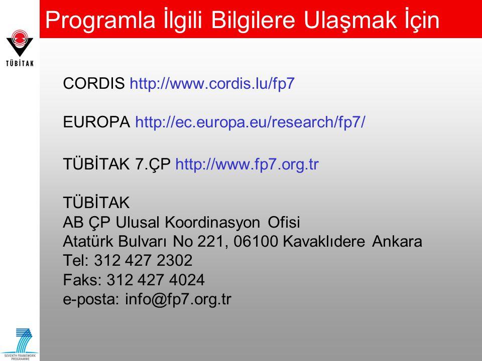 Programla İlgili Bilgilere Ulaşmak İçin CORDIS http://www.cordis.lu/fp7 EUROPA http://ec.europa.eu/research/fp7/ TÜBİTAK 7.ÇP http://www.fp7.org.tr TÜ