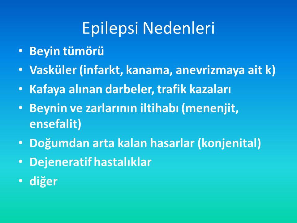 Epilepsi Nedenleri Beyin tümörü Vasküler (infarkt, kanama, anevrizmaya ait k) Kafaya alınan darbeler, trafik kazaları Beynin ve zarlarının iltihabı (menenjit, ensefalit) Doğumdan arta kalan hasarlar (konjenital) Dejeneratif hastalıklar diğer