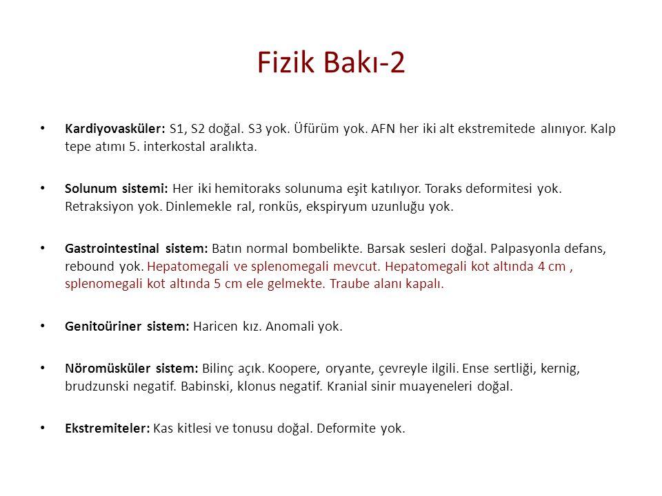 Tetkik Glukoz: 73 mg/dl Üre:9 mg/dl BUN: 4.0 mg/dl Kreatinin:0.39 mg/dl AST:67 U/L ALT:27 U/L LDH:414 U/L Alkalen Fosfataz:118 U/L Albumin: 3.00 g/dL Na: 137 mEq/L K: 4.67 mEq/L Ca:8.5 mEq/L Mg:2.33 mg/dL İnorganik Fosfor: 3.8 mg/dl Ürik Asit:1.5 mg/dL CRP : 8.69 Sedimantasyon:53 Fibrinojen:3.16 g/l Protrombin zamanı: 14.5 sn INR: 1.14 APTT:22.8 sn WBC: 4750 /mm3 NEU: 801 /mm3 LYM: 3230 /mm3 HGB: 7.26 g/dl HCT : %23.9 MCV: 61.8 fl PLT: 98900 /mm3.