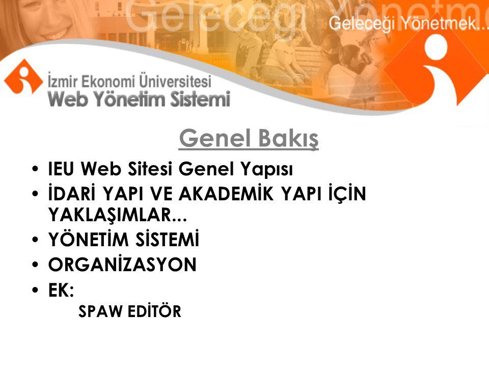 Genel Bakış IEU Web Sitesi Genel Yapısı İDARİ YAPI VE AKADEMİK YAPI İÇİN YAKLAŞIMLAR...