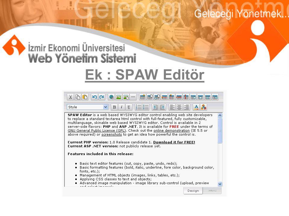 Ek : SPAW Editör